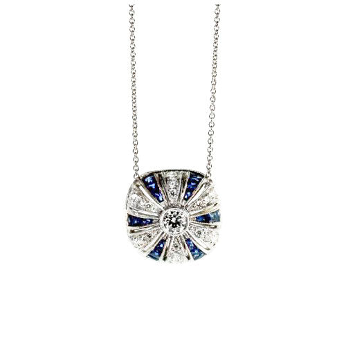 Sapphire and Diamond Pillow Necklace
