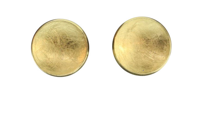 GOLD PLATED CONCAVE DISC CLIP-ON EARRING