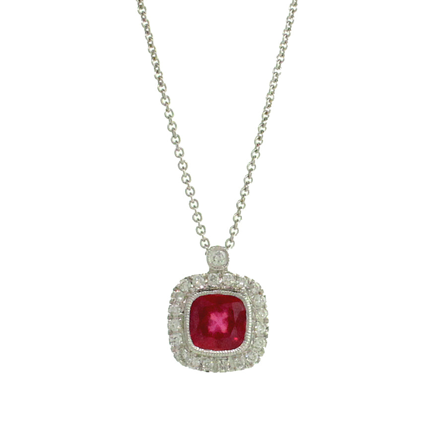 Ruby and Diamond Cushion Pendant