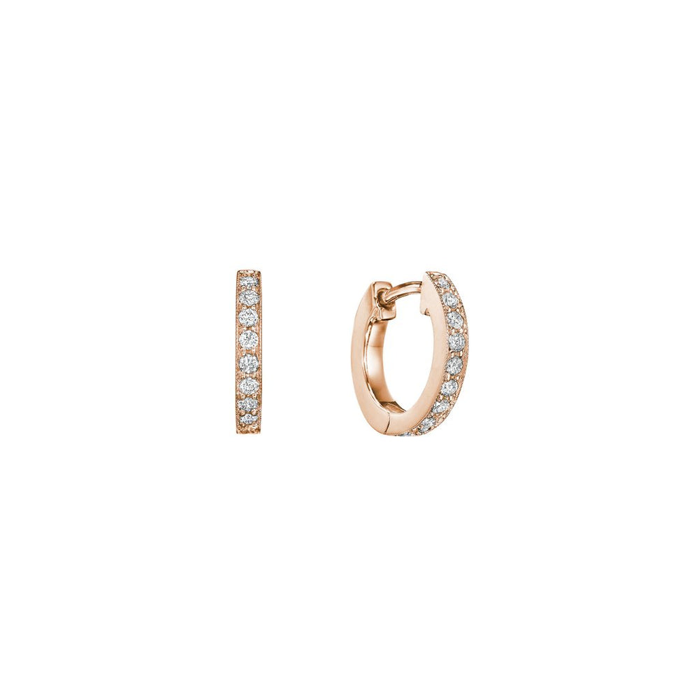 18k Rose Diamond Petite Hoops