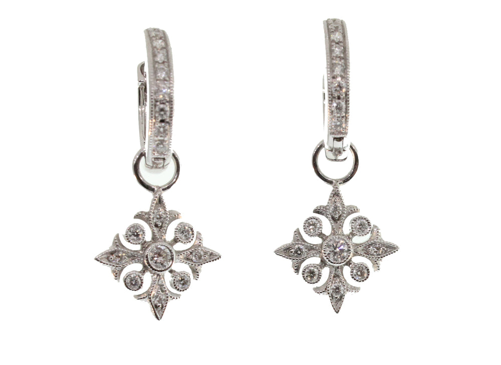 INTRICATE DIAMOND HOOP EARRINGS WITH REMOVABLE CHARM