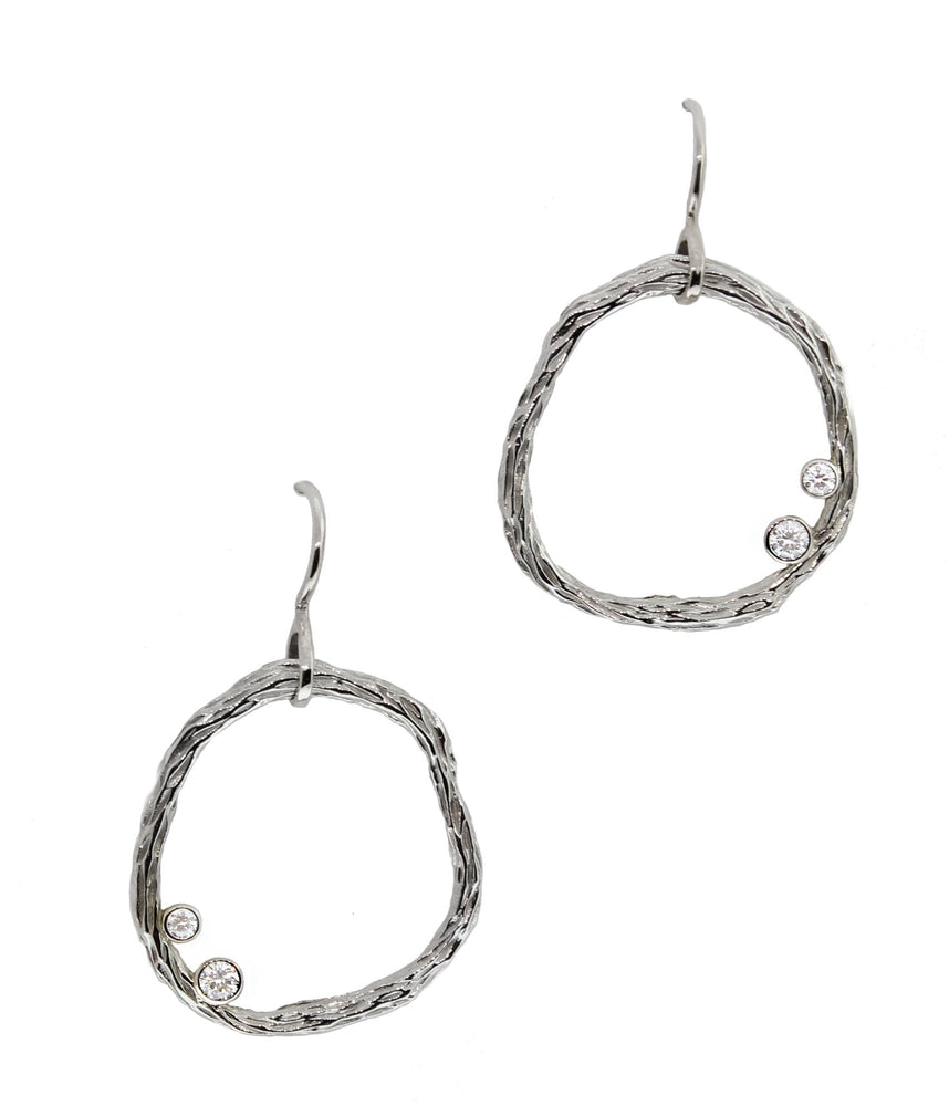 Diamond Circle Pebble Earrings