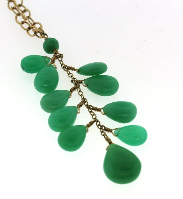 Chrysoprase Briolette Tassel Necklace with Heavy Chain