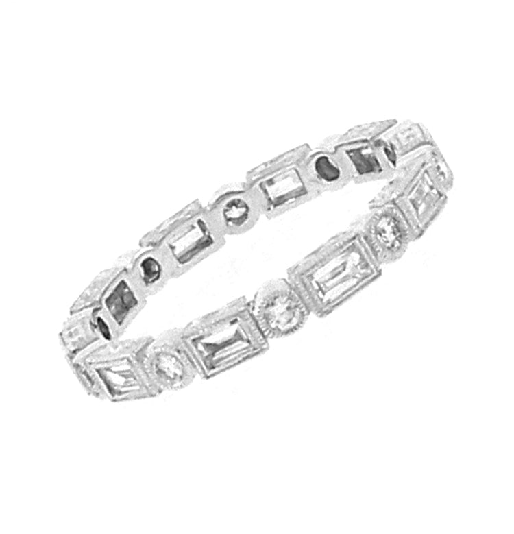 Baguette and Round Diamond Stacking Ring