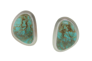 Brushed Silver and Turquoise Earrings