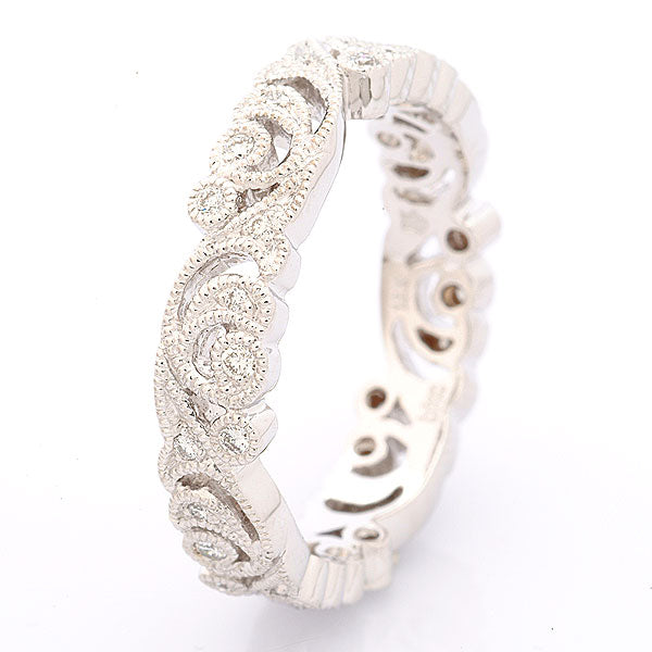 18K White Gold and Diamond Thin Filigree