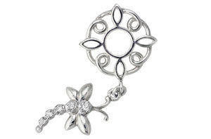 W-119 White Gold Dragonfly Dangle