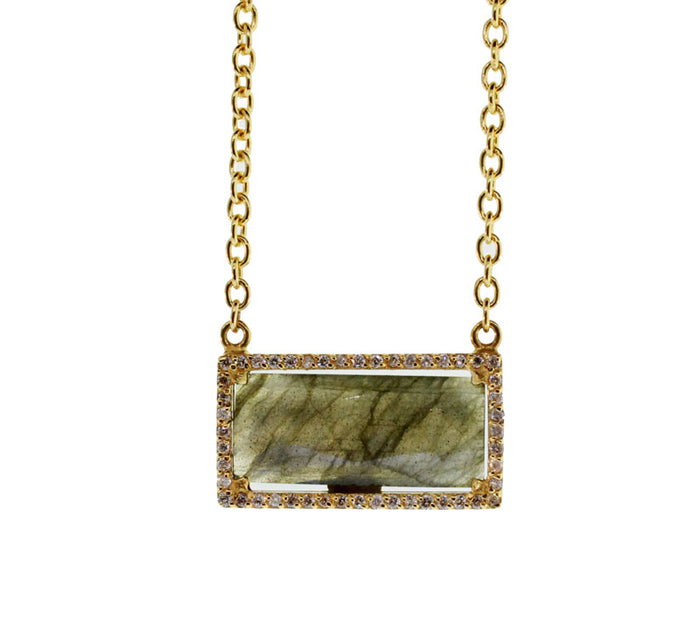 Labradorite And Diamond Gold Necklace
