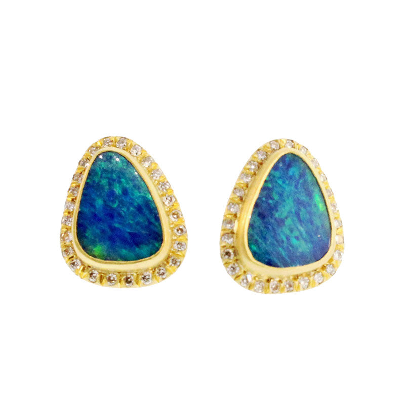 Black Opal and Diamond Studs