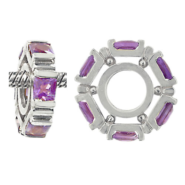 W-24 White Gold Princess Cut Amethyst Wheel