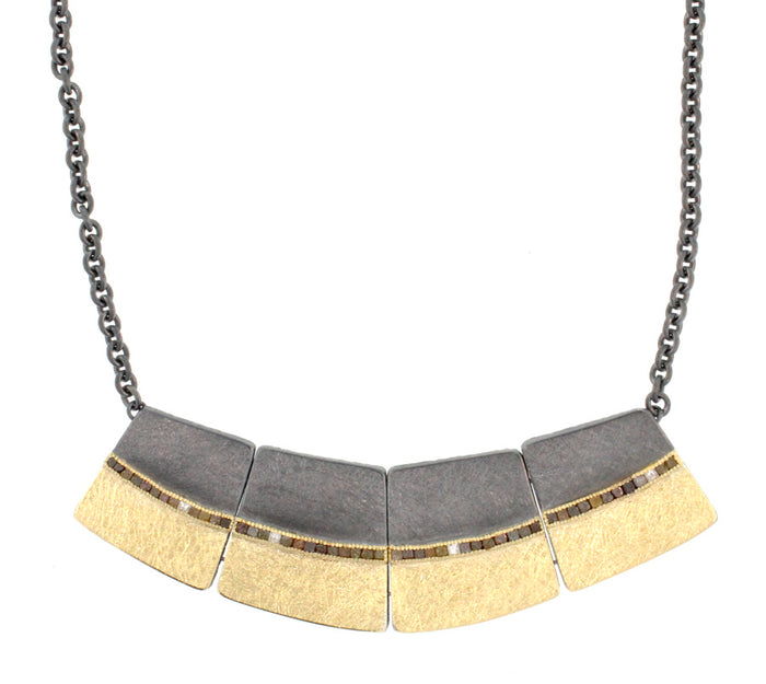 Two Tone Raw and White Diamond Collar Necklace