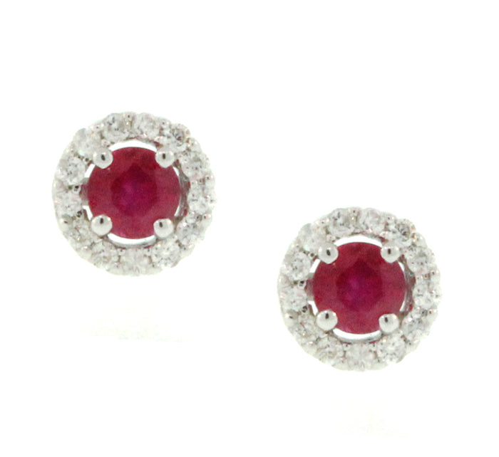 Ruby and Diamond Halo Studs