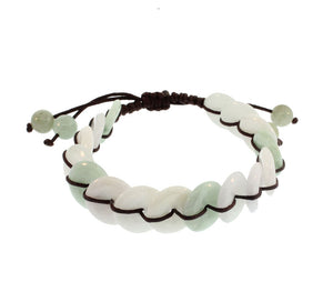 Jadeite Circles Bracelet on Brown
