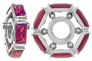 W-6 White Gold Baguette Garnet Wheel