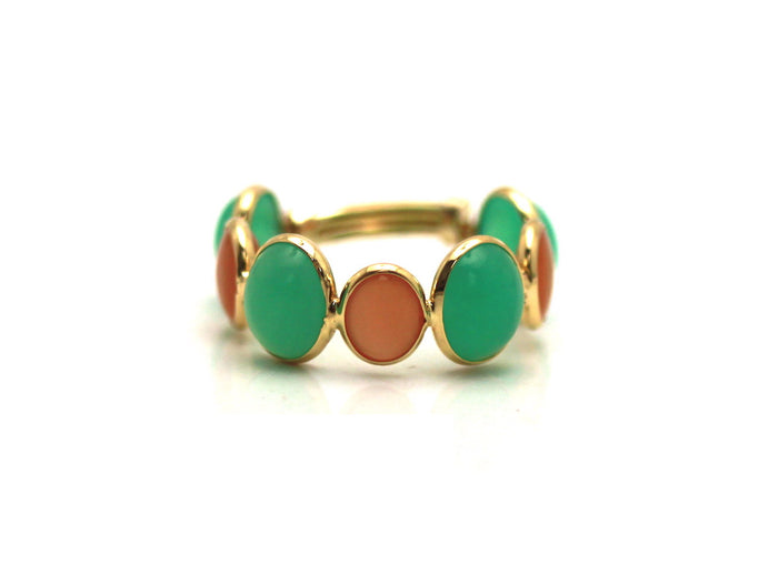 Cabochon Chrysoprase and Peach Moonstone Adjustable Ring