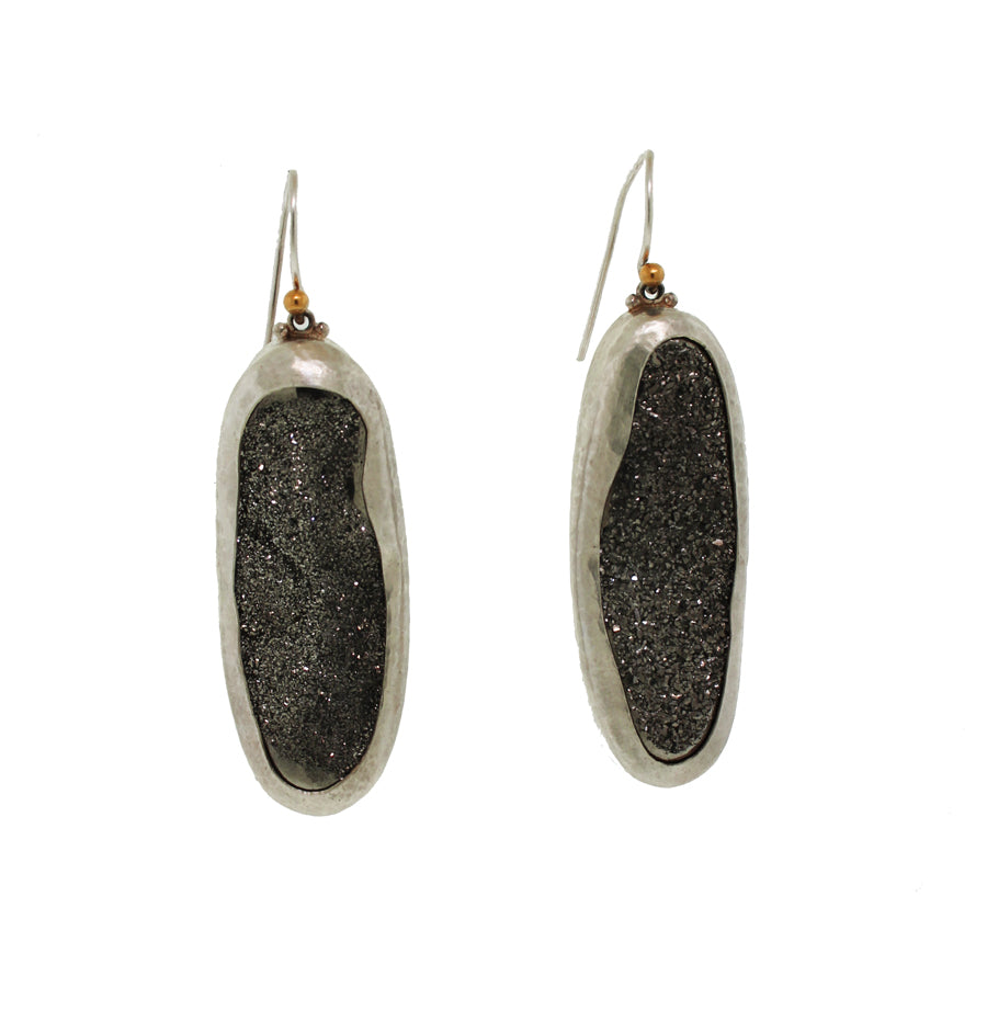 Long Black Druzy Earrings