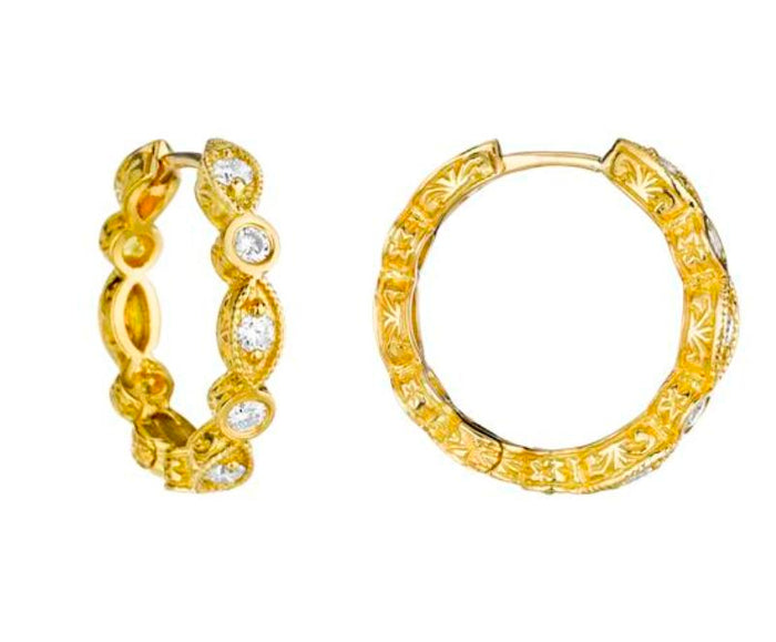 SMALL MARQUIS AND ROUND DIAMOND HOOPS