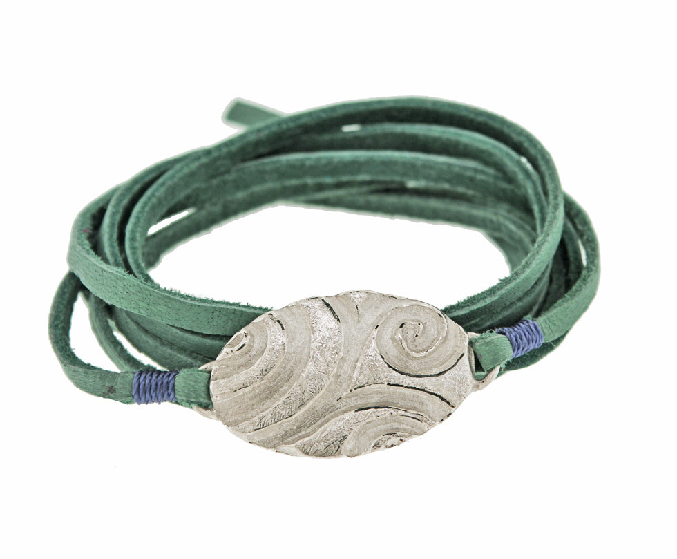 Oval Tide Pool Leather Wrap Bracelet