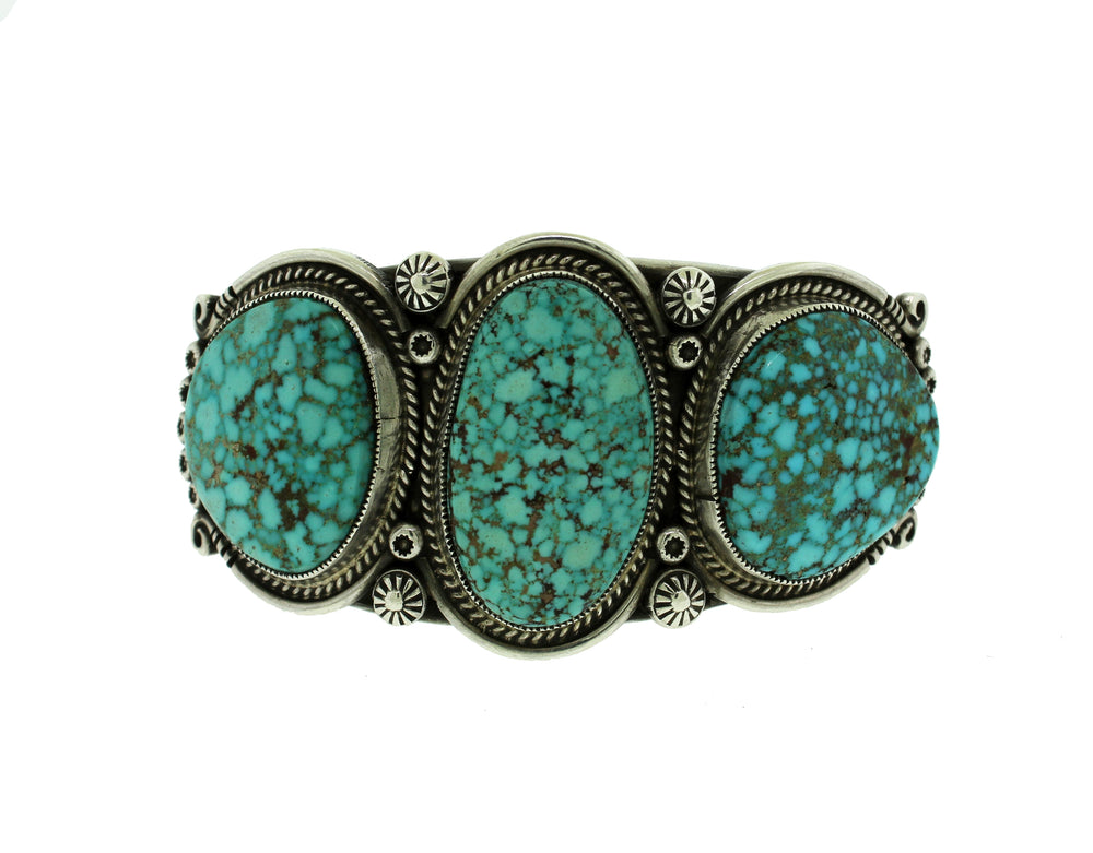 Three Stone Turquoise Navajo Sterling Silver Cuff