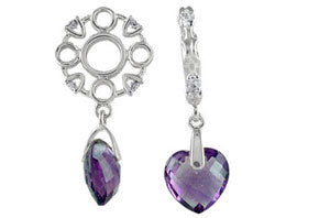 W-241 White Gold Amethyst Heart Dangle