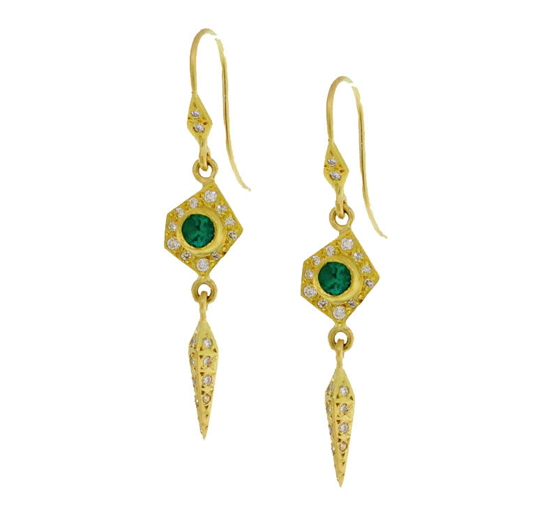 Emerald And Diamond Thorn Earrings