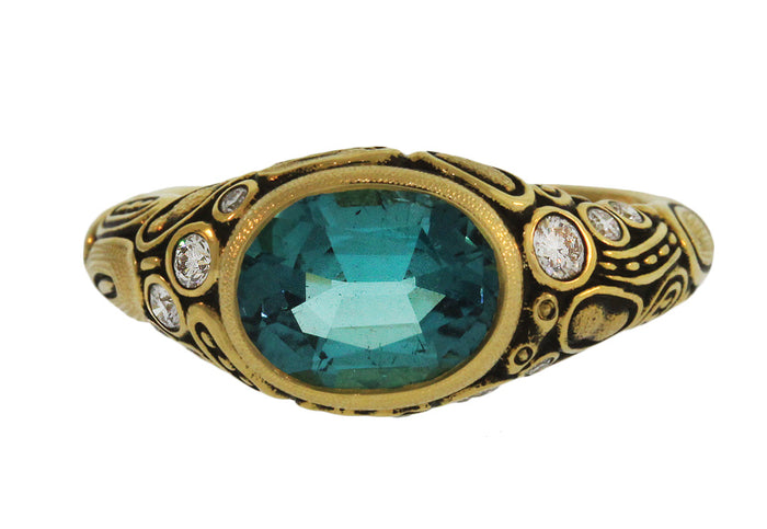 ROYAL BLUE TOURMALINE AND DIAMOND OVAL CENTER STONE RING