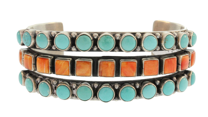 CUFF WITH 3 ALTERNATING ROWS OF TURQUOISE AND SPINY OYSTER