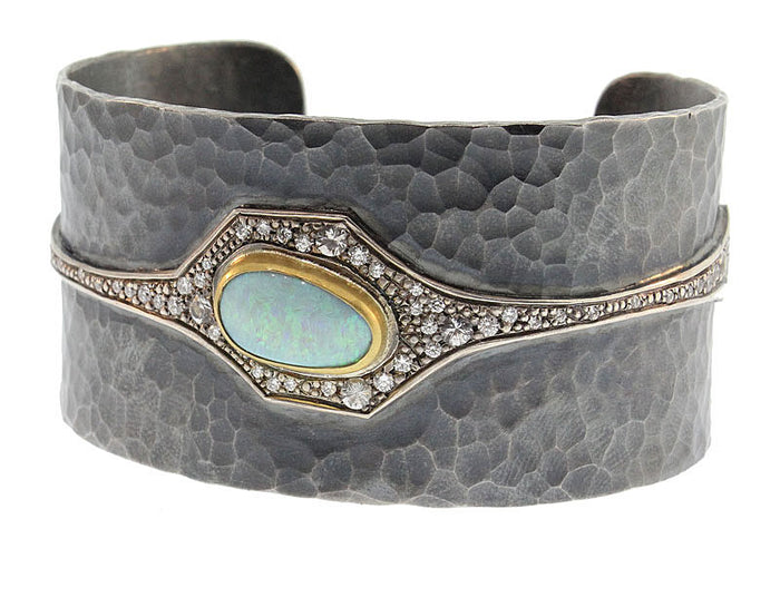 Diamond And Opal Deco Cuff