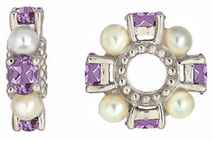 W-72 White Gold Amethyst and Pearl Wheel