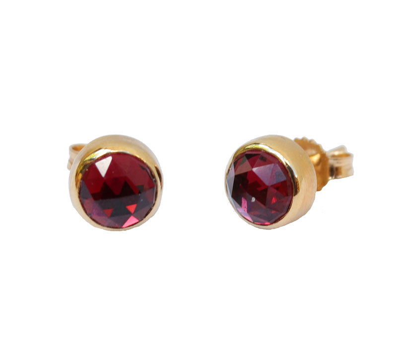 Round Rhodolite Stud Earrings