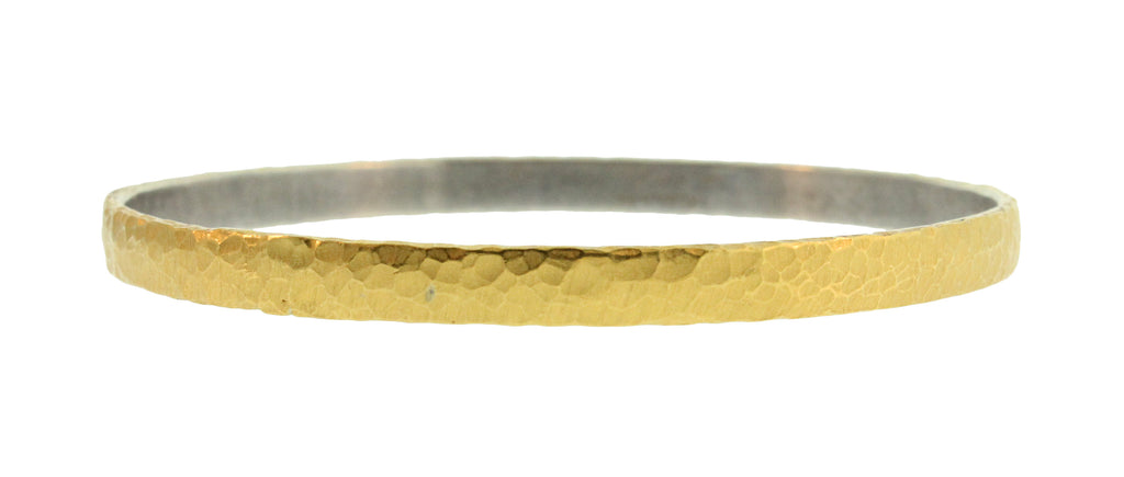Gold And Silver Hammered Bangle