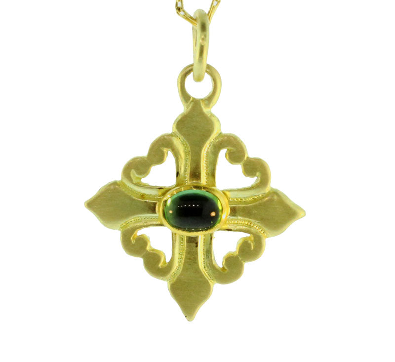 Green Tourmaline Cross Pendant