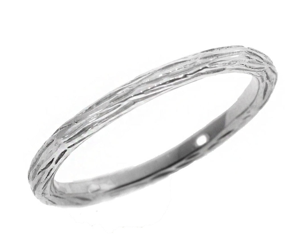 Thin White Gold Pebble Band