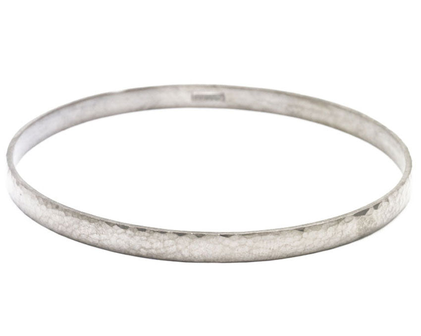 Hammered Bright Silver Bangle