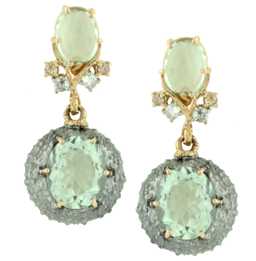 Green Amethyst Urchin Earrings