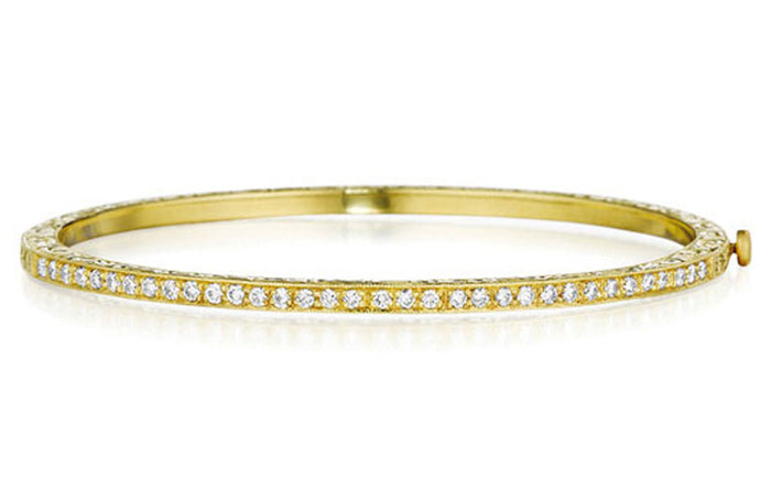 Gold Engraved Diamond Bangle