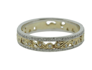 18K White and Yellow Gold and Diamond Floral Band