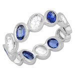 Oval Blue and White Sapphire Band
