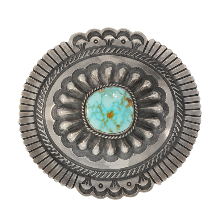 STERLING SILVER BELT BUCKLE WITH TURQUOISE