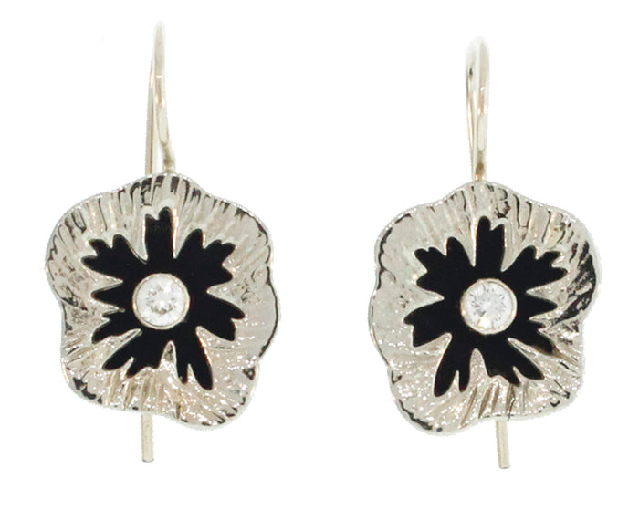 White Gold and Steel Urchin Earrings