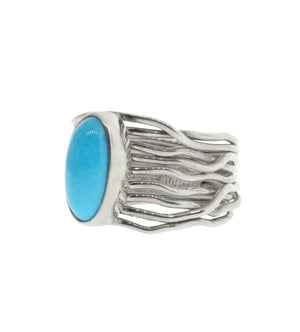 Skinny Turquoise on Wire Wrap Band