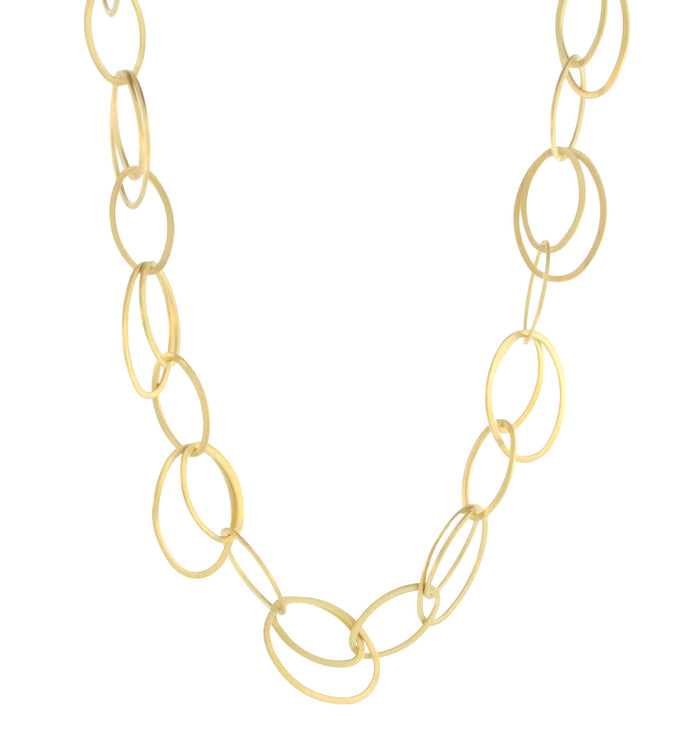 GOLD PLATED THIN OPEN DOUBLE OVAL NECKLACE