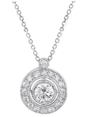 ROUND DIAMOND CENTER STONE WITH PAVE BORDER