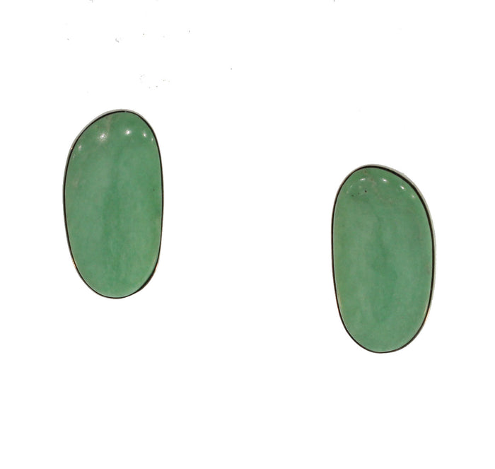 LARGE GREEN TURQUOISE AND SILVER STUDS