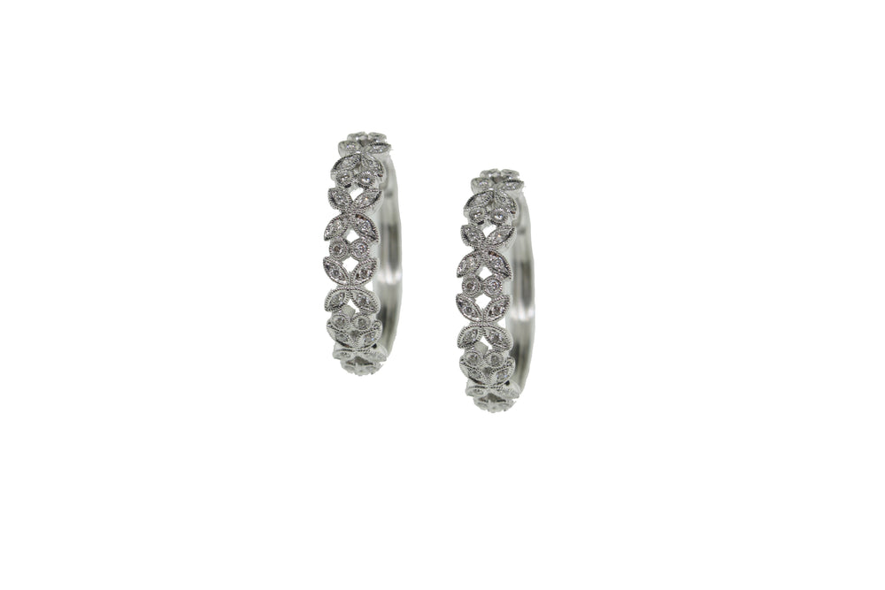 Diamond Floral Hoop Earrings