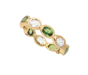 Oval White Sapphire and Tsavorite Garnet Eternity Band