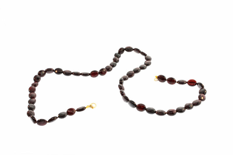 Cabochon Garnet Bead Necklace