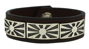Three Sun Leather Bracelet