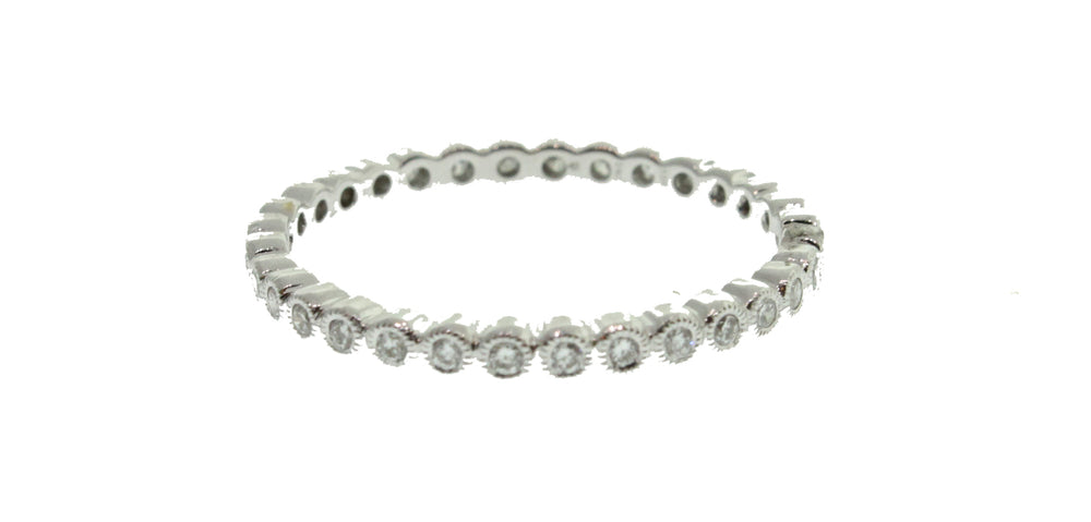 WHITE GOLD CIRCULAR DIAMONDS STACK-ABLE BAND