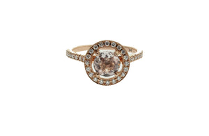ROUND MORGANITE AND DIAMOND ENGAGEMENT RING